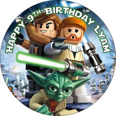 EDIBLE Star Wars Lego Cake Topper Round Personalized wafer paper yoda new