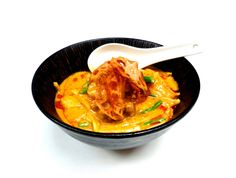 Red Duck #Curry - tender duck breast fillet in mild red curry sauce, bamboo shoot & #French beans to add freshness, then #pineapple adds sweetness & cut the flavour. Crunchy lotus root crisps & hint of chili oil on top.