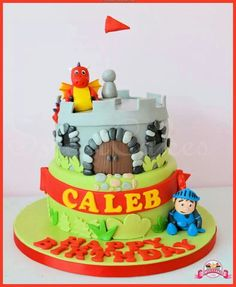 2 Tier Mike the Knight Cake with handmade edible figures Knight Cake, 4th Birthday, Birthday Cake, Mike The Knight, Birthdays, Party Ideas, Desserts, Handmade, Food
