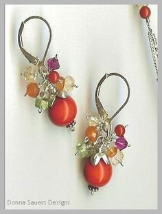 Fruit Compote Earrings | Little clusters of semi precious gems with handmade glass beads | Donna Sauers Designs via Etsy