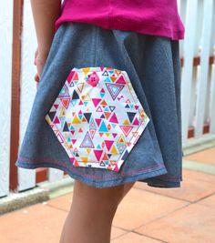 Hexagon Pocket Skirt for Straight Lines and Angles