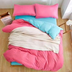 Home Textiles,Deep Lake Blue Pink Solid Color Bedding Sets 3/4Pcs Duvet Cover Bed Sheet Pillowcase King Queen Full Twin Size