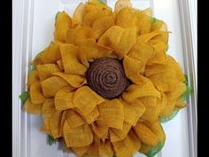 How to make a burlap sunflower wreath - YouTube