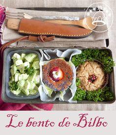 Bento de Bilbo - Champignons à la crème de wasabi, sandwich saumon, gâteau aux fruits