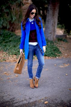 Cobalt blue coat, jeans and ankle boots