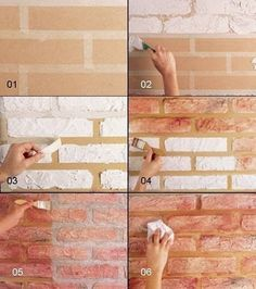 How to construct DIY brick walls? - No matter you are looking to build a small patio DIY brick wall or an outside boundary wall for your house there are some basics that you must know be. Fake Brick Wall, Faux Brick, Brick Walls, Exposed Brick, Diy Wand, Mur Diy, Diy Wall Painting, House Painting, Wall Design