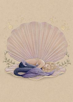 Items similar to Seashell Mermaid Art, Sleeping Mermaid Print, Clam Shell Mermaid Painting Decor, Asleep Dreaming, Seashell Art Mermaid Nursery Art on Etsy Mermaid Wall Art, Mermaid Nursery, Mermaid Drawings, Mermaid Paintings, Mermaids And Mermen, Fantasy Mermaids, Real Mermaids, Shell Drawing, Mermaid Tattoo Designs