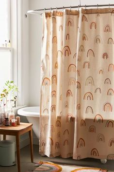 Shop Painterly Rainbows Shower Curtain at Urban Outfitters today. We carry all the latest styles, colors and brands for you to choose from right here. Bathroom Plants, Boho Bathroom, Bathroom Curtains, Bathroom Colors, Bathroom Styling, Bathroom Sets, Bathroom Trends, Cute Shower Curtains, Small Bathroom