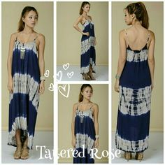 Navy Blue Tye Dye Maxi30% Off Bundles What a beautiful dress! Colors of midnight blue and grey with a light and  flowy feel perfect for summer Adjustable straps for perfect comfort. Slightly higher in the front. Sewn with love in the USAMade with 100% Rayon Tattered Rose Dresses Maxi