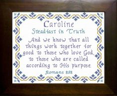 Caroline - Name Blessings Personalized Cross Stitch Design from Joyful Expressions Cross Stitch Borders, Cross Stitch Designs, Cross Stitch Patterns, Cross Stitch Embroidery, Embroidery Patterns, Rainbow Names, All Things Work Together, Names With Meaning, Gifts For Family