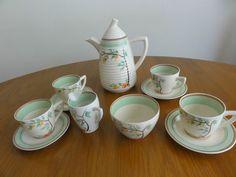 Clarice Cliff Summers End Tea Coffee Pot Set Art Deco 11 pieces Newport Signed