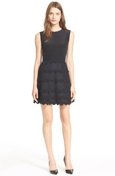 RED Valentino Tiered Silk & Point d'Esprit Dress available at #Nordstrom