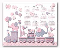 2016 calendar pink nursery art baby girl room by PinkRockBabies
