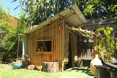 giant grass studio has constructed a miniature, prototype dwelling called the 'bamboo cubby house' based on passive design principles. Cob House Interior, Interior Exterior, Cubby Houses, Play Houses, Small Houses, Tropical Outdoor Furniture, Bbq Shed, Bamboo House Design, Bamboo Structure