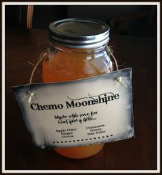 Recipe: Chemo Moonshine | Natural Nausea Remedy. Apple Cider, Honey, Cinnamon, Cloves, Ginger and Star Anise. This elixir is highly recommended for anyone having symptoms of nausea as they go through chemo.