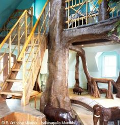 indoor tree house, home of Scott Jones Indoor Tree House, Indoor Trees, Library Themes, Library Design, Children's Library, Library Ideas, Mega Mansions, Mansions For Sale, Mansions Homes