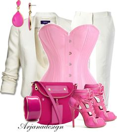 """Baby Pink Corset"" by arjanadesign on Polyvore"
