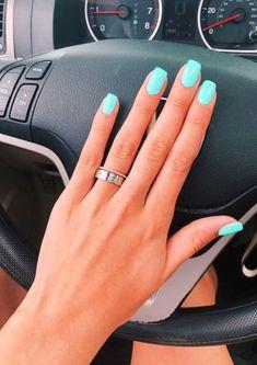 Jade Nails, Teal Nails, Aycrlic Nails, Pastel Nails, Tiffany Blue Nails, Nails Turquoise, Sns Nails Colors, Pink Shellac Nails, Gel Nails Shape