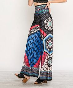 Loving this Black Geometric High-Waist Palazzo Pants on #zulily! #zulilyfinds