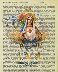"""For this print, our popular Immaculate Heart of Mary design has been placed on top of a page from a vintage 1916 Catholic dictionary, on which the listings include """"Heart of Mary Immaculate."""""""