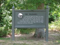 The Palisades, Colonial National Historic Parkway, Virginia - For pro­tec­tion against the Indians, the set­tlers built a log pal­isade across the nar­rows of the penin­sula between the York and James rivers. This was about 1633. Middle Plantation (later Williamsburg) began as a set­tle­ment along this pal­isade which had its south­ern anchor where Paper Mill and College creeks join a half mile downstream.