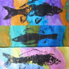 Gyotaku II- thème de l'océan . Poissons en caoutchouc