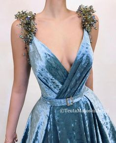 <img> Details – Turkish blue dress color – Velvet dress fabric – Handmade embroidered crystals on shoulders – Velvet belt details – A-line dress shape with V-neck and an open leg – For parties and special events - Elegant Dresses, Pretty Dresses, Blue Dresses, Beautiful Dresses, Prom Dresses, Formal Dresses, Wedding Dresses, Awesome Dresses, Summer Dresses