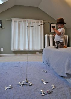 Magnetic homemade fishing. Great for some little boys.