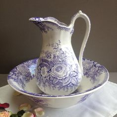 bf05687426 Antique french pitcher and wash basin. Sarreguemines Lavender transferware  bathroom set. Purple on white ironstone. Bathroom romantic decor