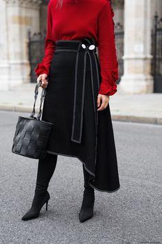 Fall Trend: Red Sweater & Midi Skirt I More on viennawedekind.com