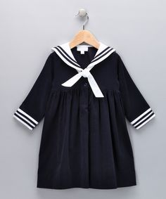 Navy Corduroy Sailor Dress