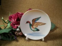 Duck Trinket Dish Mallard Flying Over Water by SpringJewelryThings