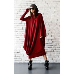 New Red Maxi dress/loose kaftan/comfortable dress/oversize Tunic... ($92) ❤ liked on Polyvore featuring dresses, grey, women's clothing, plus size kaftan, plus size caftans, maxi kaftan and red kaftan
