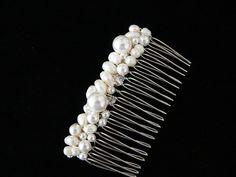 Wedding Hair Comb with White swarovski by BridalJewelryByJudy, $30.00
