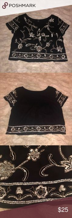 F21 Beaded Crop Top Black with silver beading Size Medium  Slightly cropped Looks great with high waisted bottoms The beaded layer is sheer over a solid black lining   Purchased from Forever 21  Beading in excellent condition  Tags: Free People, Urban Outfitters, UO, South Moon Under, NastyGal, Zara, Anthropologie, Forever 21, American Eagle, Lulu's, Brandy Melville, Pac Sun, Hollister, Blue Life, Asos, Missguided, Tobi Forever 21 Tops Blouses