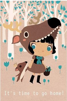 Its time to go home little deer. I will cook some flowers for you. Print of the illustration « Its time to go home little fox. Illustration Mignonne, Children's Book Illustration, Digital Illustration, Art Mignon, Painting, Cute Art, Illustrators, Character Design, 3d Character