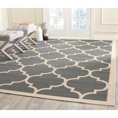 Shop for Safavieh Contemporary Indoor/Outdoor Courtyard Anthracite/Beige Rug (9' x 12'). Get free shipping at Overstock.com - Your Online Home Decor Outlet Store! Get 5% in rewards with Club O!