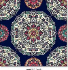 Seamless pattern with ornamental floral ethnic mandalas - Artwork - Art Print from FreeArt.com Free Art Prints, Canvas Art Prints, Mandala Pattern, Pattern Art, Mandala Coloring, Canvas Pictures, Printable Art, Wallpaper Backgrounds, Illustration Art