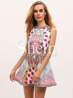 Multicolor+Sleeveless+Flower+Print+Dress+23.99