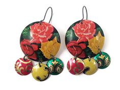 Recycled Tin Earrings, Gypsy Chandelier Style, Rose Pattern, by TinMoonJewelryworks on Etsy, $40.