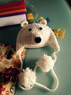 Cappello Orso Polare Bambino Alpaca Uncinetto