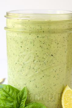 Lemon Basil Buttermilk Dressing - a thousand times better than boring ranch, this dressing is the perfect way to add pizzazz to salads. It's also great drizzled on chicken, fish, shrimp, etc and great on baked potatoes, french fries, veggies- anything!