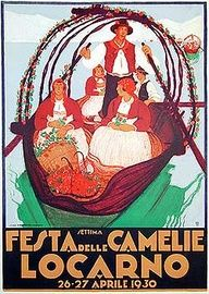 Vintage poster 1930, (Festivity of the Camelias)