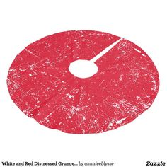 White and Red Distressed Grunge Paint Splatter Brushed Polyester Tree Skirt