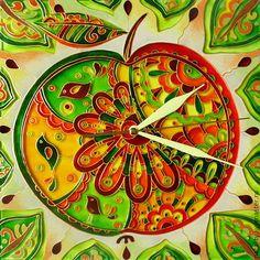 """Купить Часы """"Вкусное"""" - салатовый, яблокл, часы настенные из стекла, часы настенные, Роспись по стеклу"""