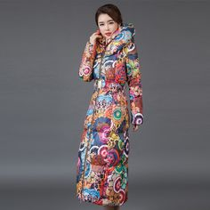 2016 Winter Down Jacket Women Down Parkas Long Thick Winter Floral Fashion Women Coat for Female Clothing  Outerwears Plus Size