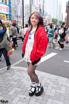 Michiko London Jacket, Colorful Hair & LDS Platform Sandals in Harajuku