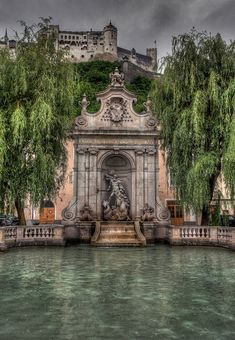 At the Neptune's Fountain in Salzburg, Austria.