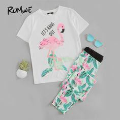 Shop Flamingo And Jungle Leaf Print Top And Pants Pajama Set online. SheIn offers Flamingo And Jungle Leaf Print Top And Pants Pajama Set & more to fit your fashionable needs. Satin Pyjama Set, Pajama Set, Pajama Pants, Fashion Kids, Punk Fashion, Outfits For Teens, Girl Outfits, Emo Outfits, Cozy Pajamas