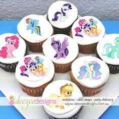 "My Little Pony Edible Icing Cupcake Toppers - 2"" - PRE-CUT - Sheet of 15 #catchmyparty #mylittlepony #cupcakes"
